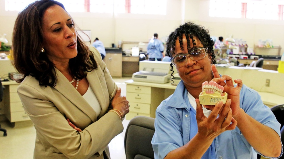 Harris visits a lab at the Chowchilla women's prison where inmates can get certified to make dental prostheses.