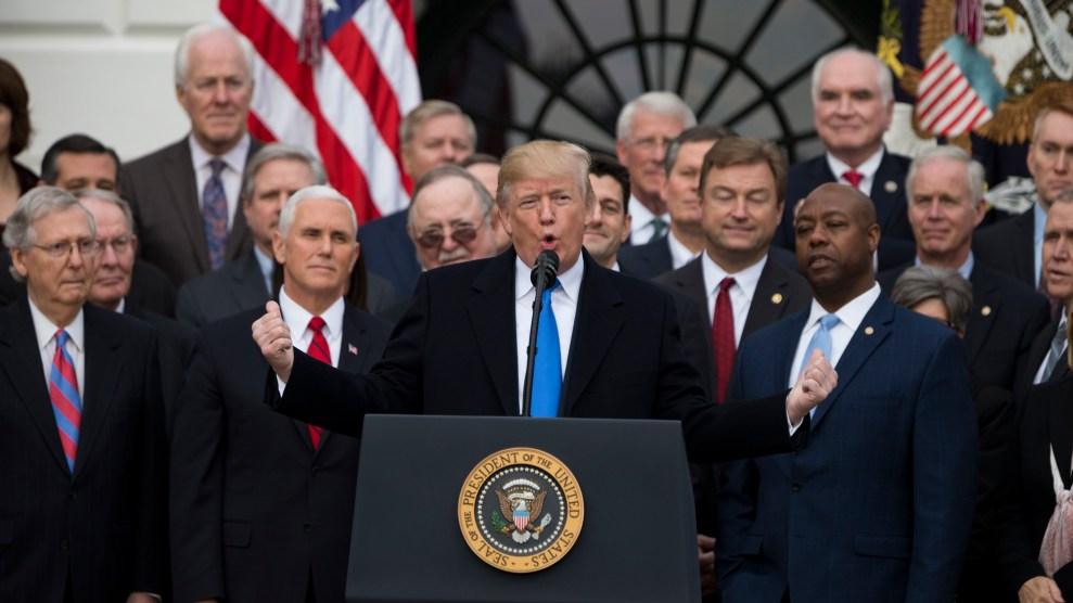 Trump speaks at Tax bill ceremony
