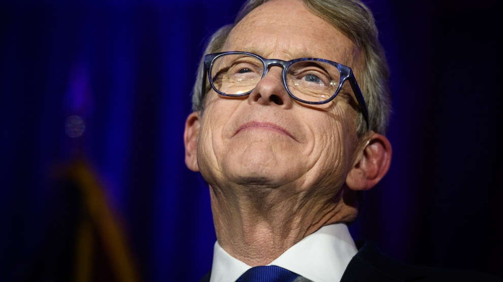 Mike DeWine gives his victory speech after winning the Ohio gubernatorial race on November 6, 2018.