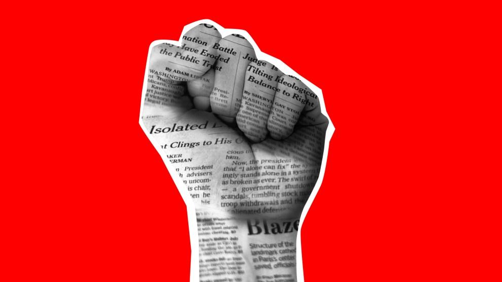 Illustration of a fist made of newsprint