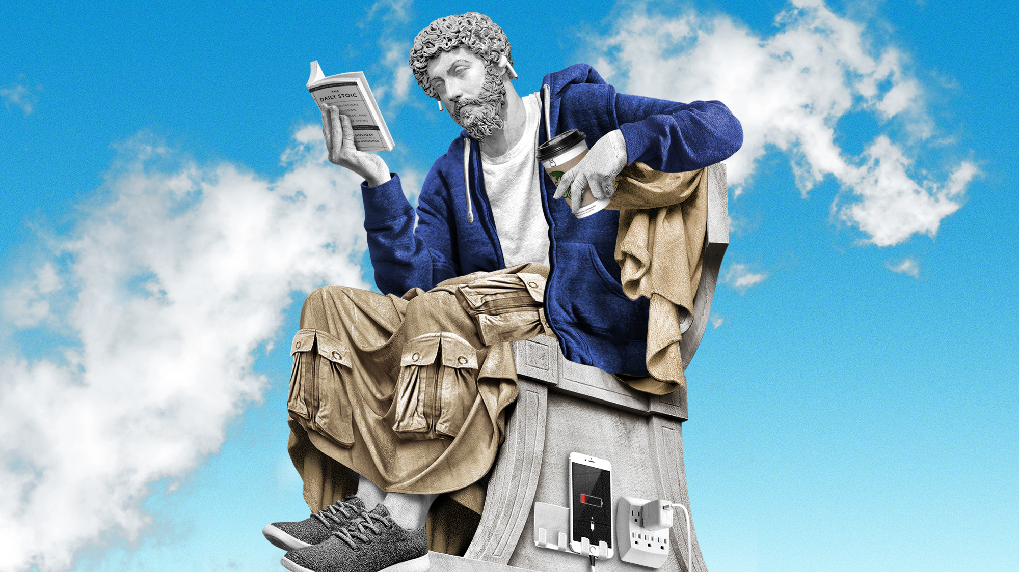 "A Greek statute wearing AirPods reads ""the Daily Stoic"" while sipping Starbucks."