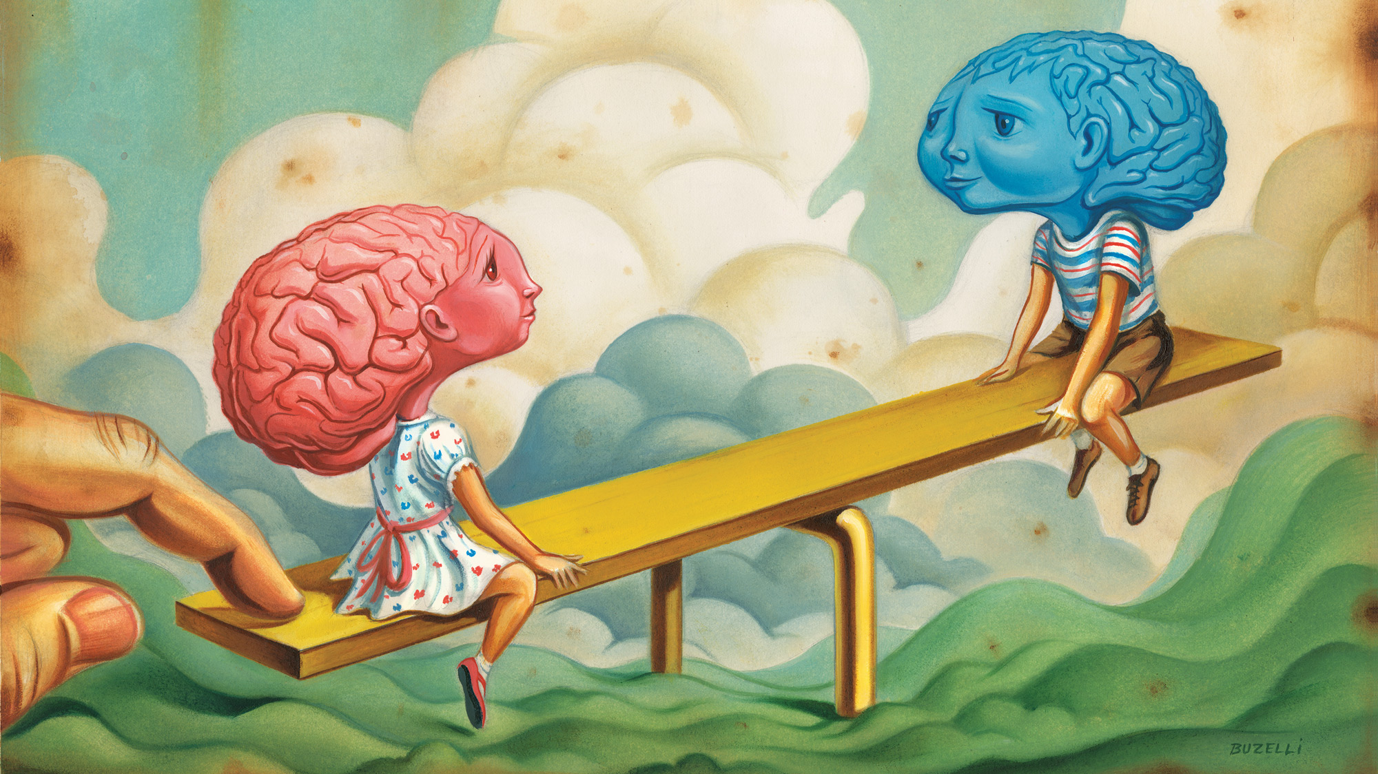 """A cartoon illustration of a pink """"girl"""" brain in a dress and a blue """"boy"""" brain in shorts facing each other on a see-saw."""