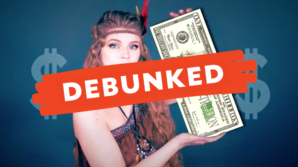 "A photo of Kaitlin Bennett in a Halloween-style Indian costume, holding a dollar bill with ""DEBUNKED"" written across the photo in red."