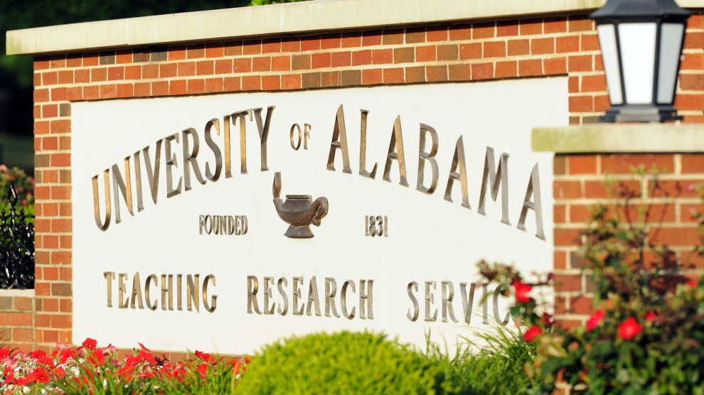 University of Alabama welcome sign