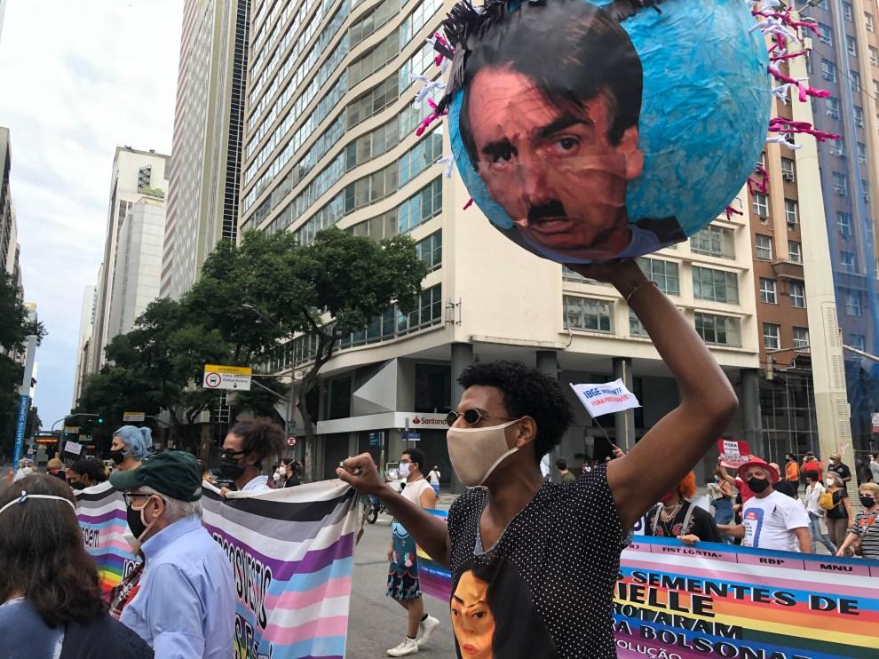 Demonstration against Brazil's government in Rio de Janeiro.