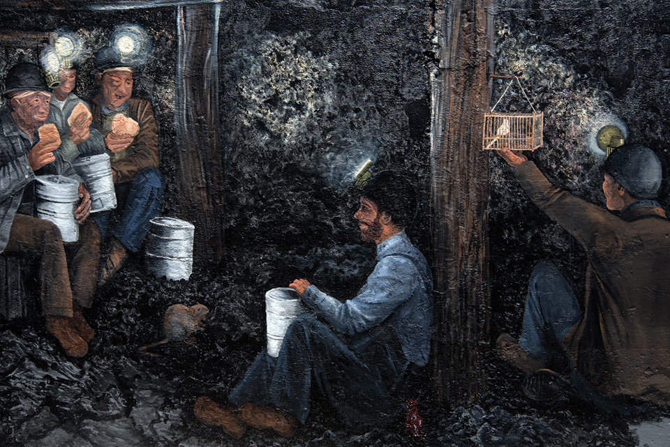 mural depicting miners