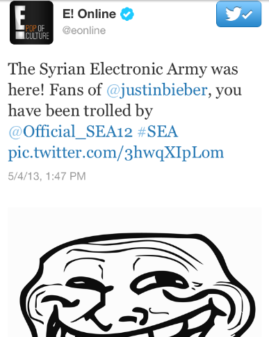 Justin Bieber gay Syrian Electronic Army Twitter hacking E Online