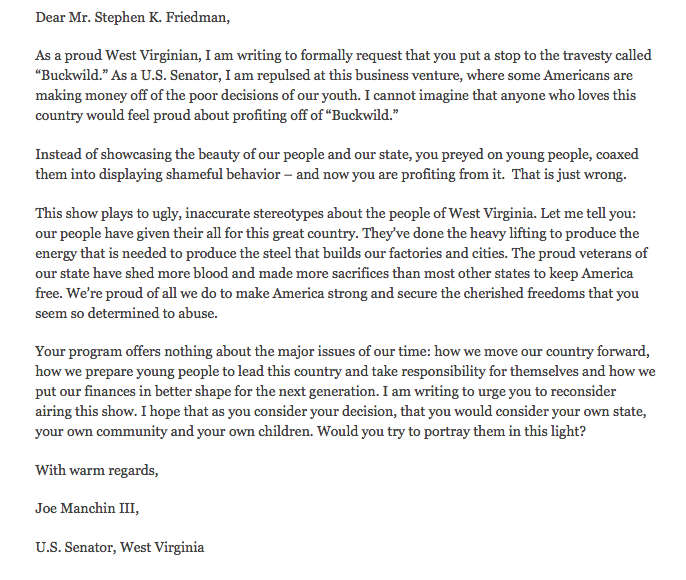 senator joe manchin letter mtv