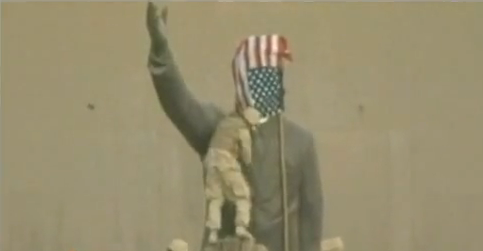 American flag Saddam Hussein statue toppling