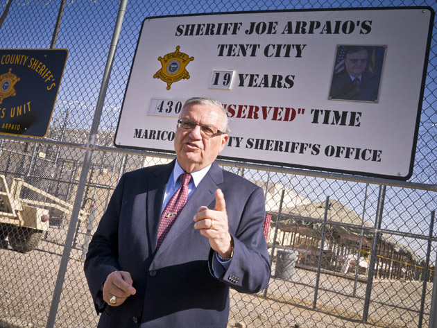 Sheriff Joe Arapaio in front of Tent City.