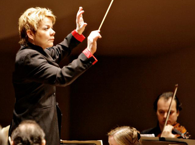 Marin Alsop, music director of the Baltimore Symphony, is the only female conductor of a major US orchestra.
