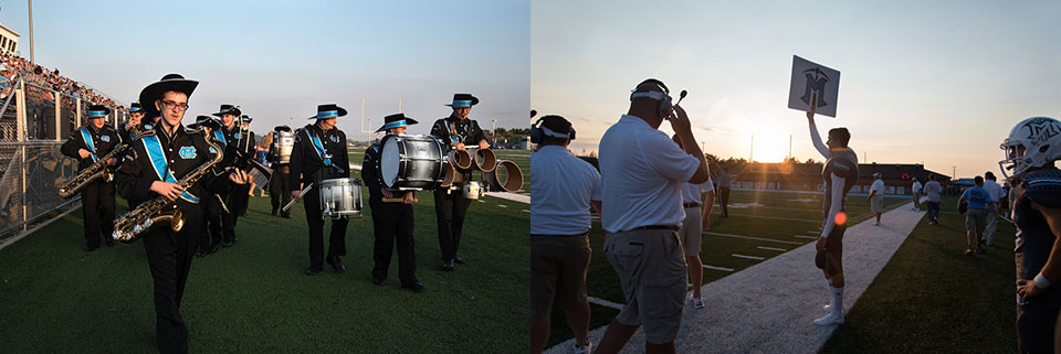 Diptych of marching band and football players