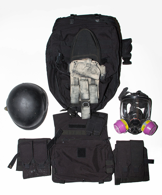 Jeff's Go Bag includes a bulletproof vest, a gas mask, and a bulletproof helmet.  It was designed to get him to his car, where he had guns, knives, an axe, camping gear, water, and food.  He also had property off grid where he would bug out to when SHTF (shit hits the fan).