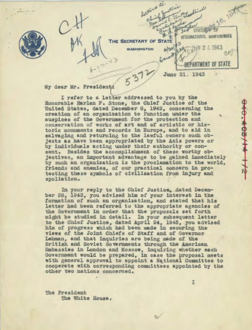 FDR Monuments Men memorandum