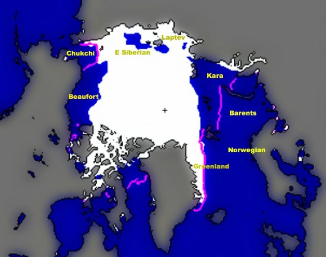 Arctic sea ice extent for October 2012 was 2.7 million square miles (7 million square kilometers). Magenta line shows 1979 to 2000 median extent for that month. Black cross indicates geographic North Pole. Yellows shows seas within the Arctic Ocean: National Snow and Ice Data Center