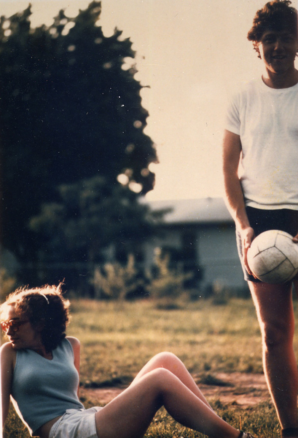 Bill Clinton and Hillary Rodham playing soccer in Fayetteville, Arkansas, during the summer of 1975.