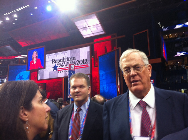David Koch, right, at the 2012 Republican National Convention. David Weigel