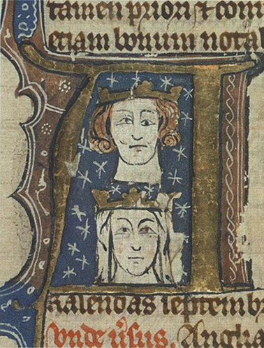 King Edward I and his wife Eleanor.   From an early 14th century manuscript/Wikipedia