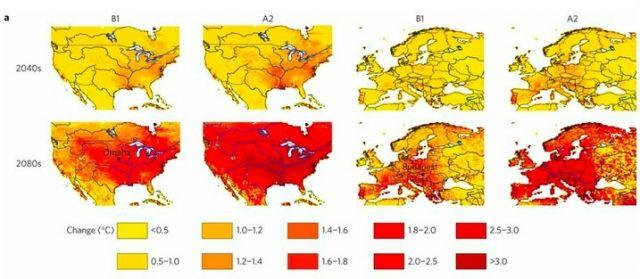 Increases in river water temperatures (click for larger version) Michelle TH van Vliet, et al, Nature Climate Change, doi:10.1038/nclimate1546