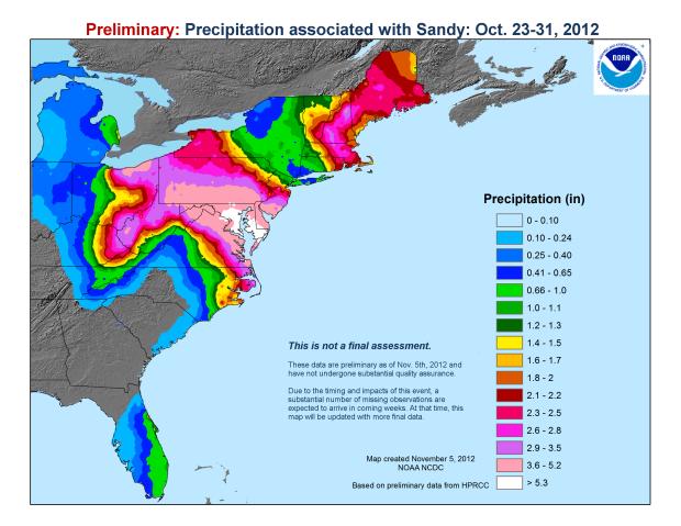 Precipitation associated with Sandy, 23-31 Oct 2012 (preliminary): NOAA National Climatic Data Center