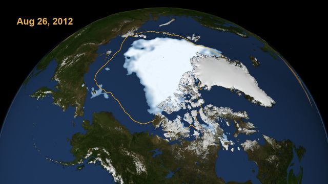 Arctic sea ice on Aug. 26, 2012, the day the sea ice dipped to its smallest extent ever recorded in more than three decades of satellite measurements: Scientific Visualization Studio, NASA Goddard Space Flight Center