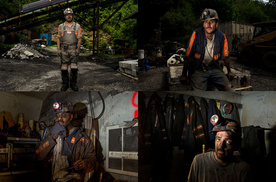 Portraits of four miners