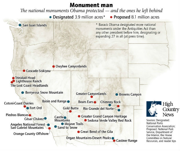 The national monuments Obama protected—and the ones he left behind.