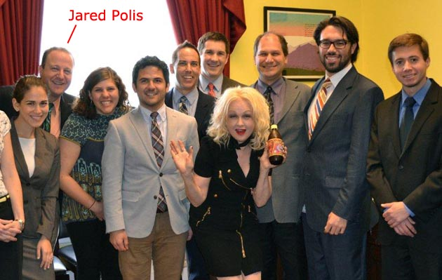 Jared Polis, Cindi Lauper and Polis' staff